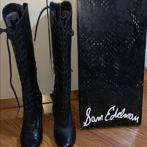 Sam Edelman Black Leather Boots w/Red Rear Zip 7.5